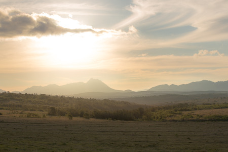 フィールドと山の上の黄金の光