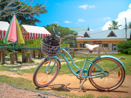Blue bicycle with a basket in a picnic area in the Seychelles