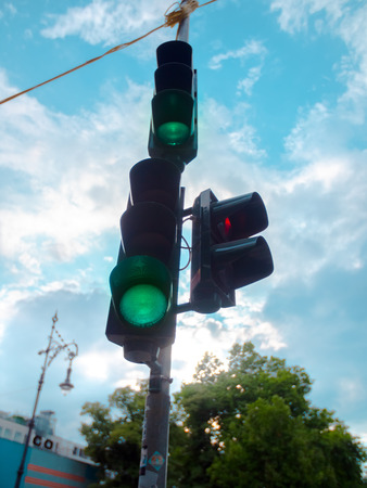 Low angle of a Green traffic light in Berlin, Germany
