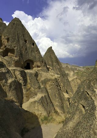 a cave house entrance in cappadocia desert
