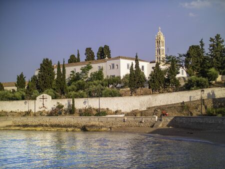Monastery by the water in Spetses, Greece