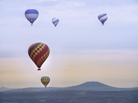 Colorful Hot Air Balloons over Cappadocia desert