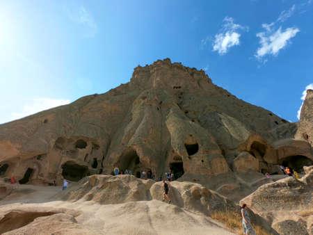 carved underground city in cappadocia desert Editorial