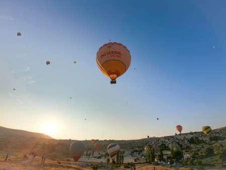 hot air balloon tours at dawn in cappadocia desert Editorial