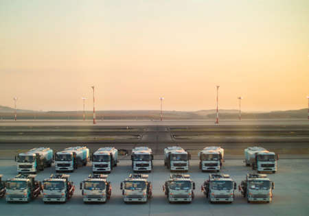 Lots of trucks lined up at the Istanbul Airport