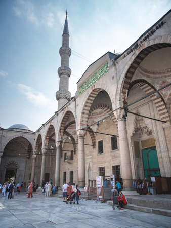 Entrance to the blue mosque with tower in Istanbul Editorial