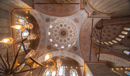 ceiling of the blue mosque in Istanbul