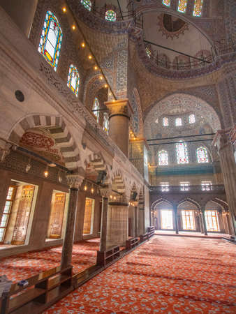 carpeted Interior of blue mosque