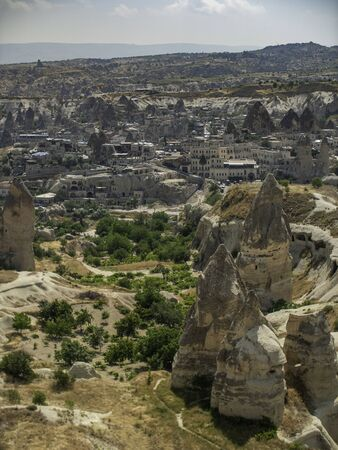 view of the town of Goreme in Cappadocia