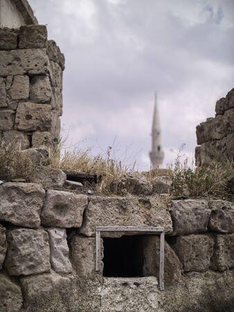 small window in a stone ruin in turkey
