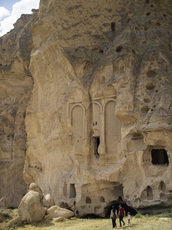 ancient christian cave structure carved into mountain in cappadocia