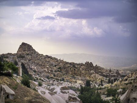 clouds over the town of Goreme in cappadocia