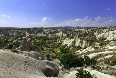 eroded sandstone hills in cappadocia desert
