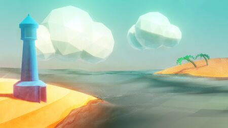 3D Illustration of a stylised beach scene with lighthouse and clouds