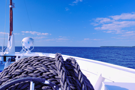 onboard: River Surface  Volga, Russia  seen from the Prow of a Cruise Liner