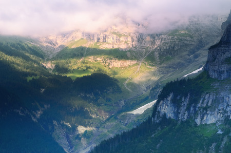 Evening View to the East from the Village of Muerren over Lauterbrunnen Valley photo