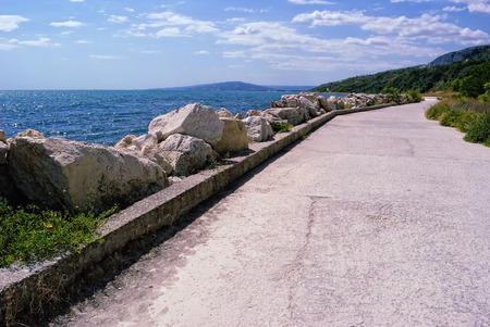 balchik: Bulgarian Seacoast. View to the South from Seafront in Balchik; Resort of Albena in the distance