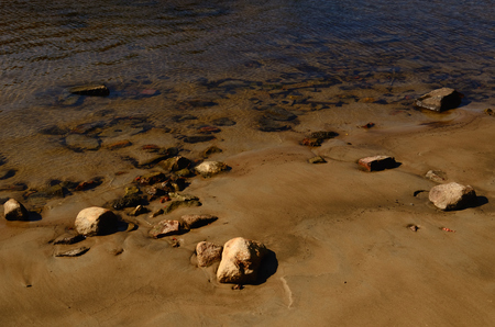 sandbank: Sandy Lake Bottom with Stones seen in Water on the Sandbank