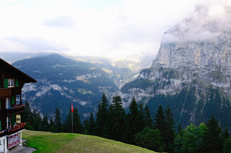 eiger: Eiger Mountain (Jungfrau Region, Switzerland) above Lauterbrunnen Valley, seen from the Resort Village of M�rren (Murren) on Summer Evening