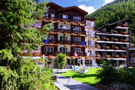 4 star: Zermatt, Switzerland - August 31, 2014 – 4 Star Hotel Rex in the Mountain Resort Town of Zermatt Editorial