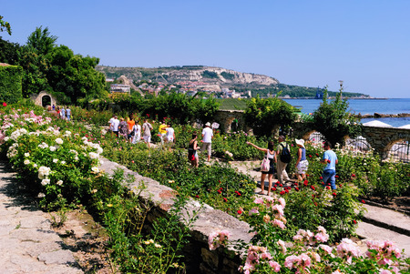abloom: Balchik, Bulgaria – August 24, 2011 – Tourists Passing through the Summer Rose Garden with Roses Abloom in the Botanical Garden of the Bulgarian Seaside Resort of Balchik. The Garden is at the Site of the Former Residence of Queen Marie of Romania.