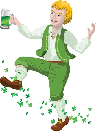 Leprechaun with beer in St. Patrick's Day Vector