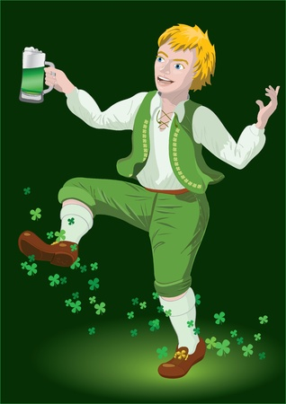 Leprechaun dancing with beer and shamrocks on backgraund  Vector