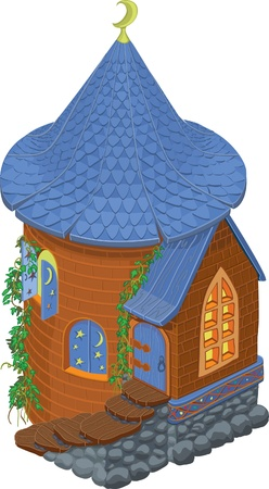 roof tile: brown fairytale tower with blue roof, door and shutters Illustration