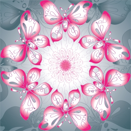 background with different color butterflies purple-white Stock Vector - 17570907