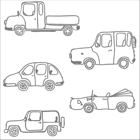 Isolated cars on white background Stock Vector - 18019185