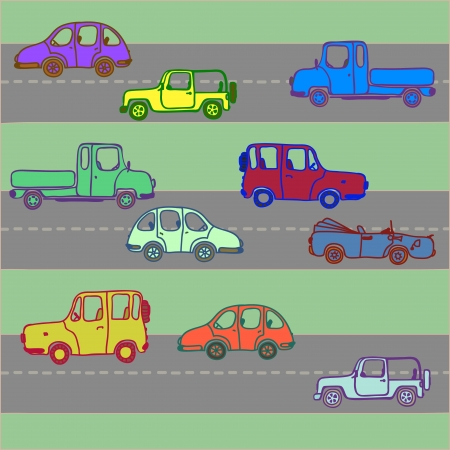 Cars of different color on roads