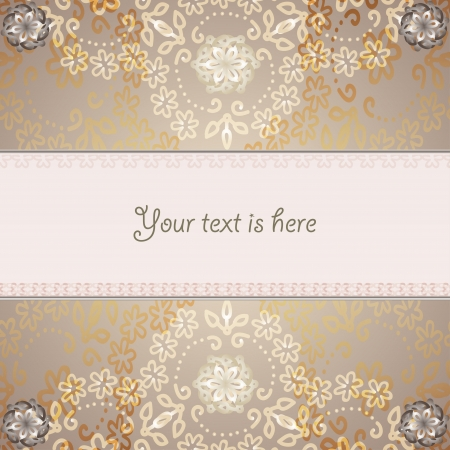 Abstract banner with backround pale brown lace