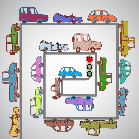 The cars on the roads in city Vector