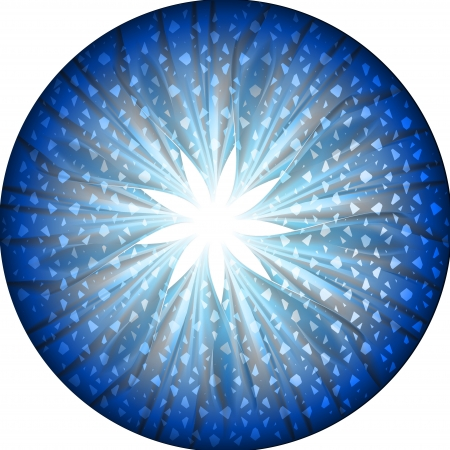 Round button with star and fabric