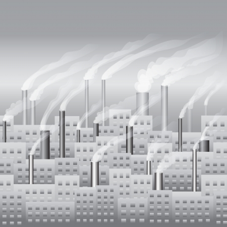The city building and the factory with smoke seamless