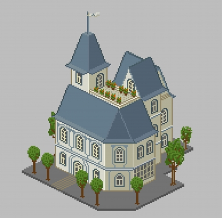 Pixel house isometric vintage colors Vector