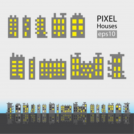 Set of pixel small building isolated on white background