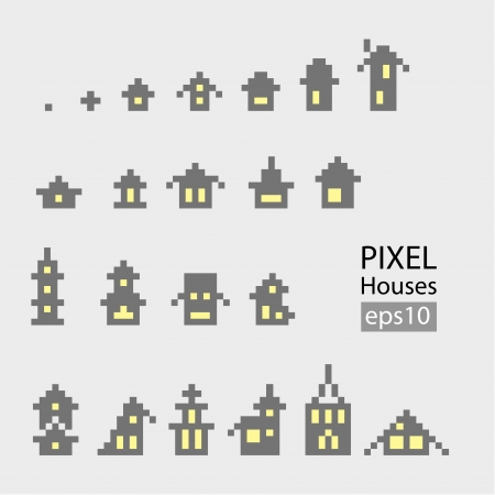 Set of pixel small building isolated on white background Vector