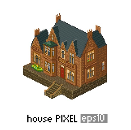 Pixel art isometric building isolated old english Vector