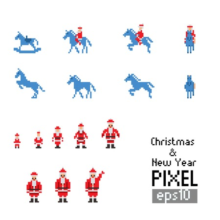 Pixel Santa with blue horse on  white