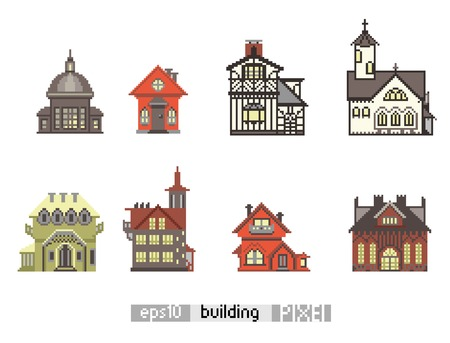 pixel art: Pixel art isometric vintage building isolated