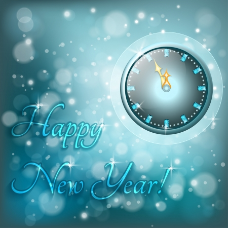 New Year greeting card with watch, eps 10 Vector