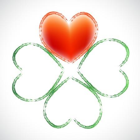 Four leaf clover heart simbol love Ireland