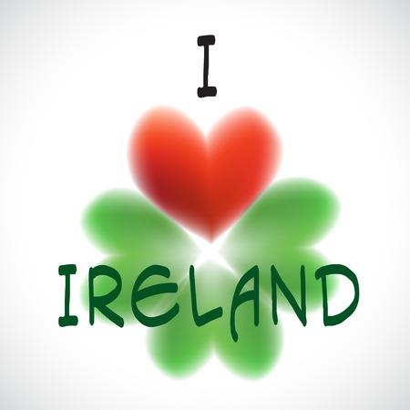 Four leaf clover heart simbol love Ireland Vector