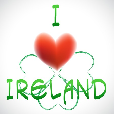 Four leaf clover heart simbol love Ireland Vector