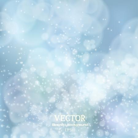 Lights on blue background bokeh effect.  Illustration