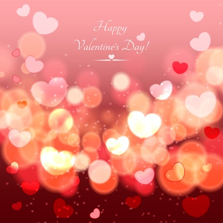 Abstract Glow Soft Hearts for Valentines Day Background
