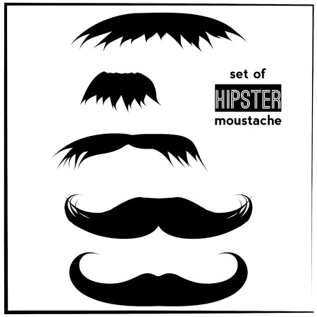 set of black hipster mustache Vector
