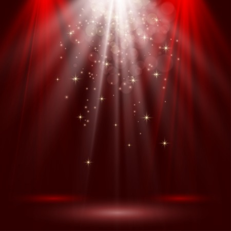 empty stage: Empty stage lit with lights on red background
