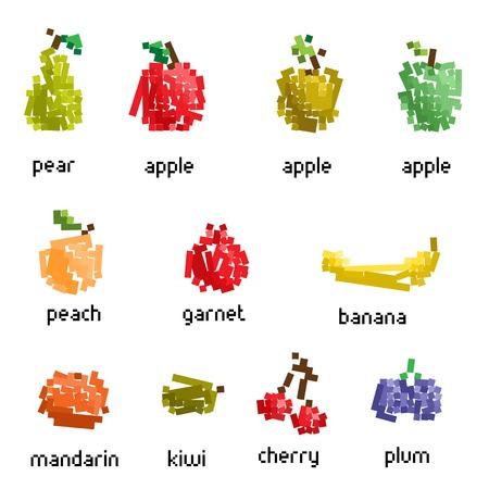 Vector pixel fruit collection Vector